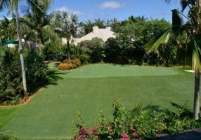 Southwest Greens synthetic grass golf area with landscape on the beach